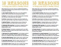 Sunday School Attendance 10 Reasons