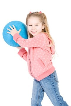 Girl playing a game with ball