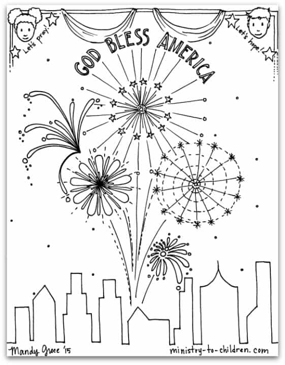 Free PDF - July 4th Coloring Page - God Bless America
