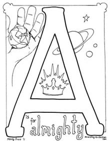 """free """"A is for Almighty"""" coloring page"""