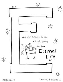 "Bible Alphabet Coloring Page ""E is for Eternal Life"""