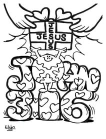 Jesus is God's gift John 3:16 coloring page