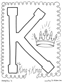 K alphabet coloring page