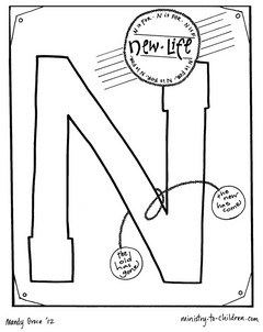 Bible coloring page for the letter N