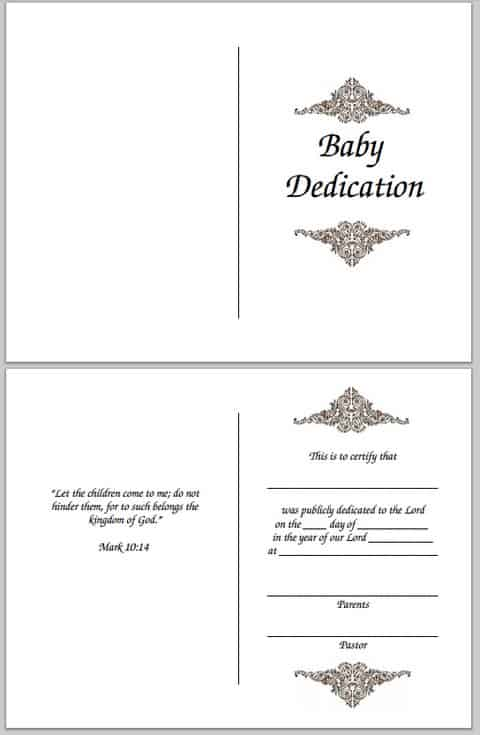 free certificate for infant dedication
