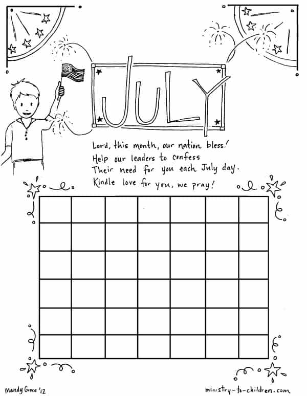 Printable coloring sheet for July