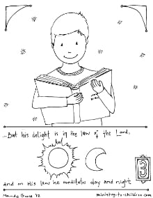 Delight in the Law of the LORD coloring pages Psalm 1