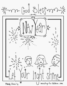 New Year's coloring sheets