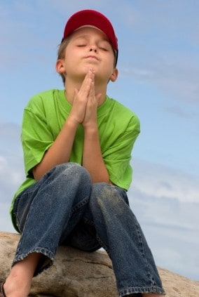 A child in prayer