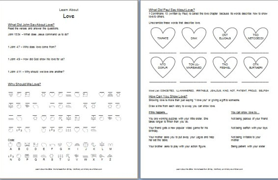 """Printable """"Learn about Love"""" Bible Worksheet"""