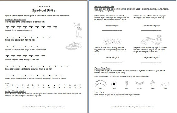 Printable Worksheet about Spiritual Gifts