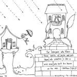 """Build Your House Upon the Rock"" Matthew 7:24 Coloring Page"