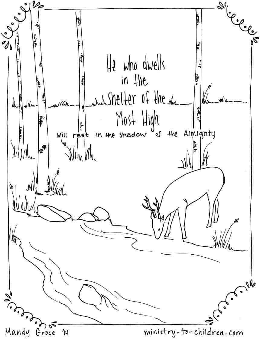 """Psalm 91:1 Coloring Page """"He who dwells in the shelter of the Most High"""""""