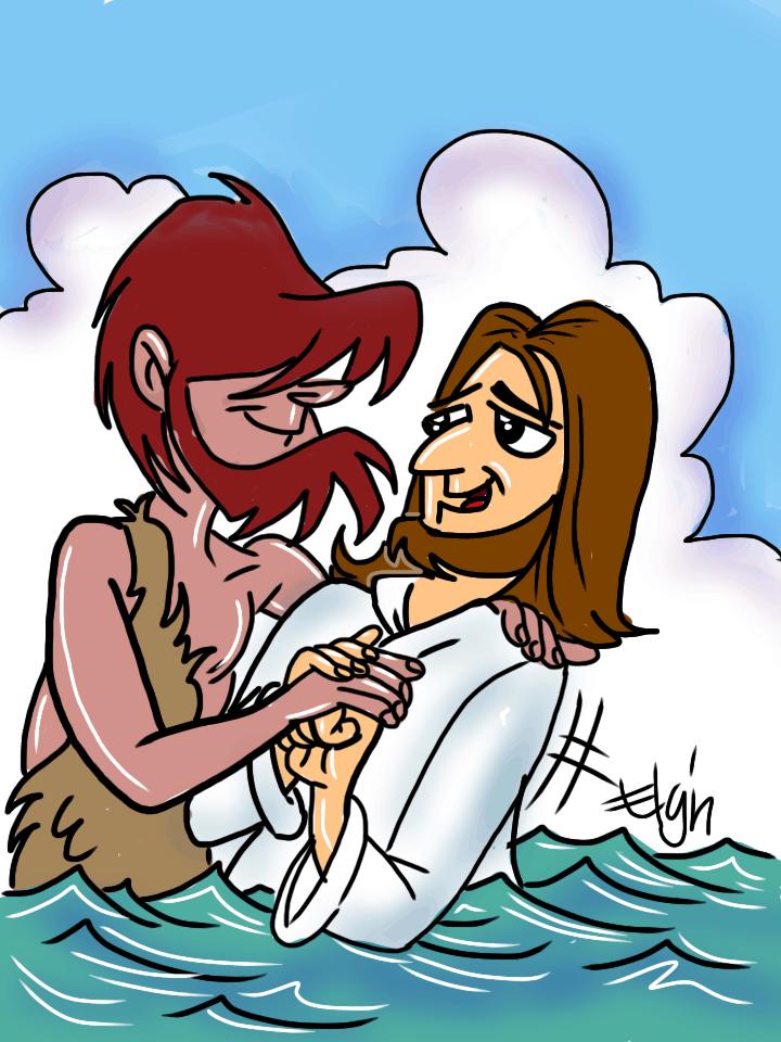 John Baptizing Jesus Cartoon & Coloring Page