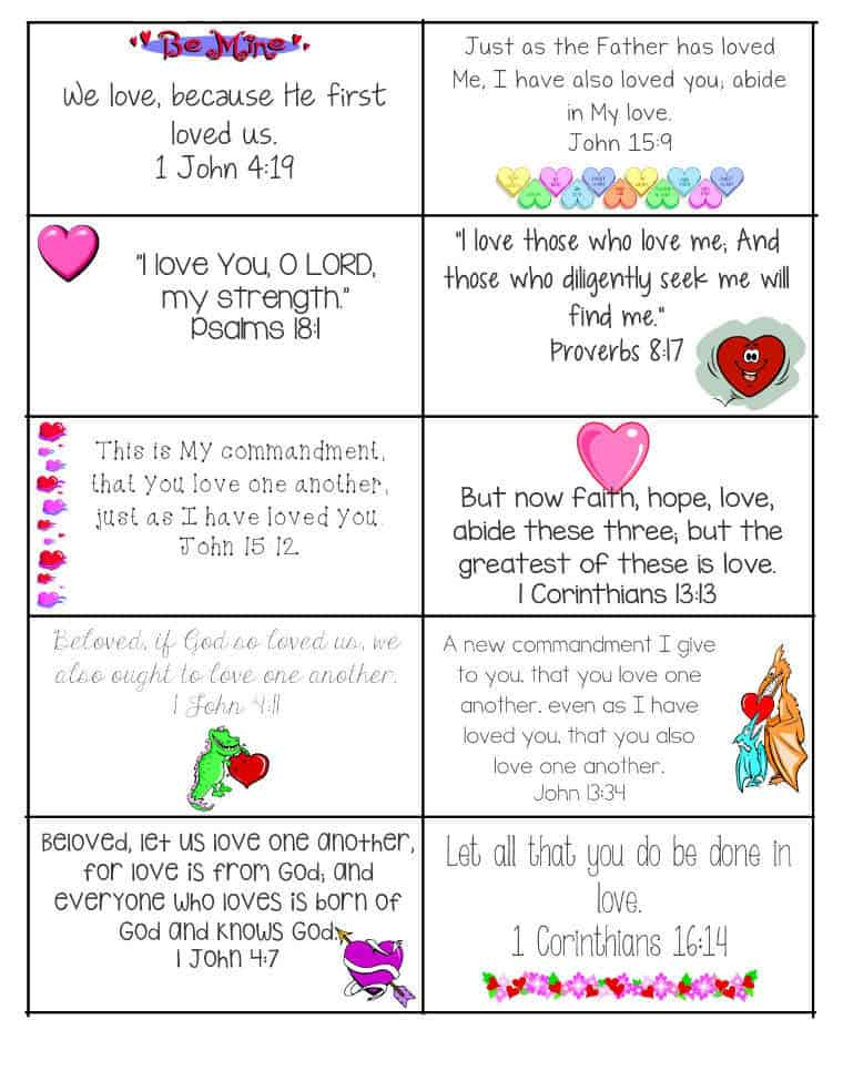 Printable Bible Verses Valentine's Card