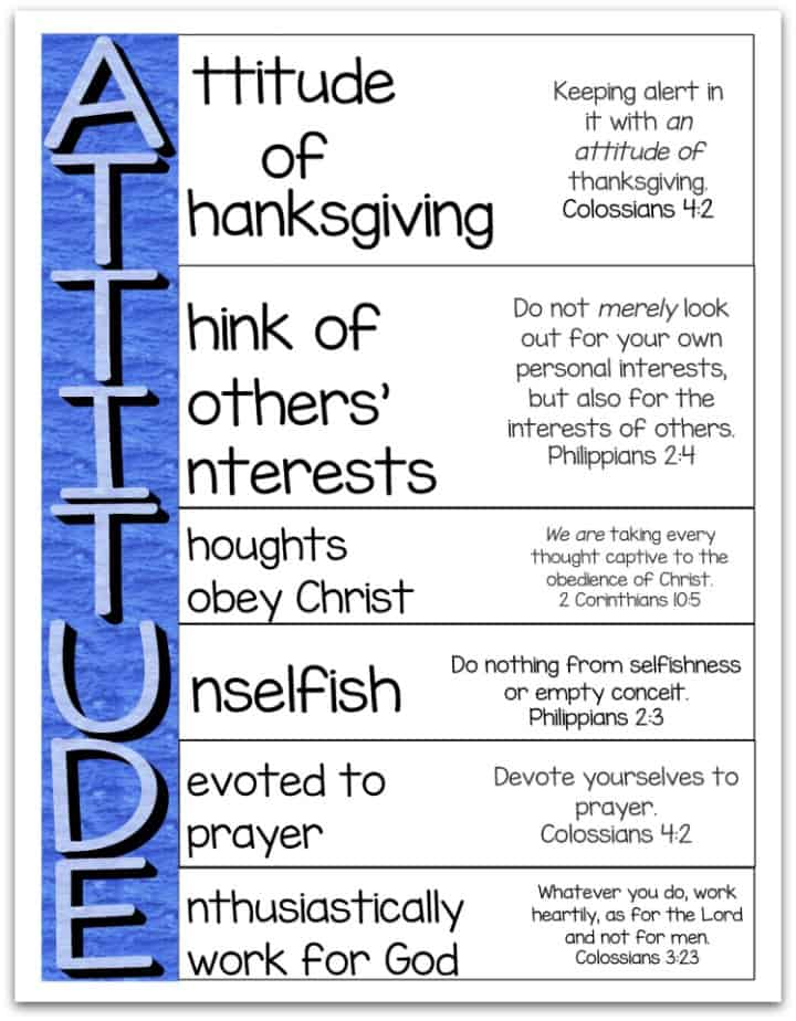 Attitude Is Important - An Acrostic Poem Printable