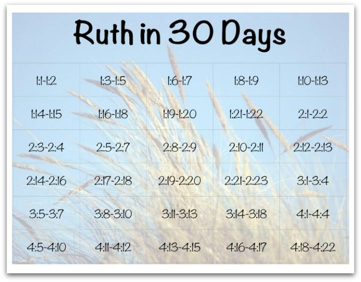 "30 Day ""Book of Ruth"" Reading Plan for Kids"