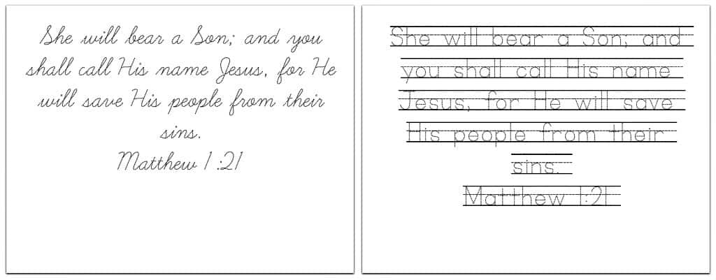 Christmas Bible Verses - Handwriting Practice Printables
