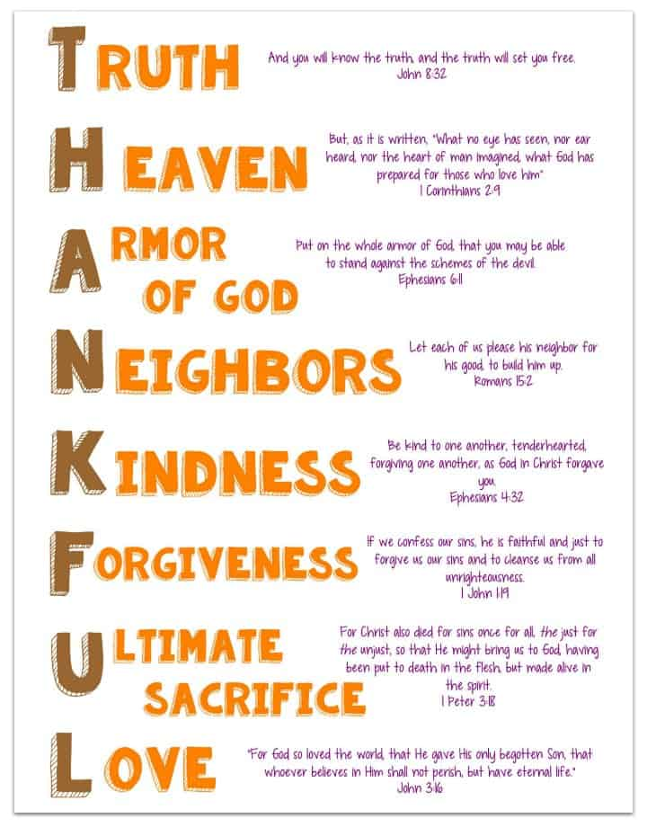 Thankful Acrostic Poem for Kids Printable