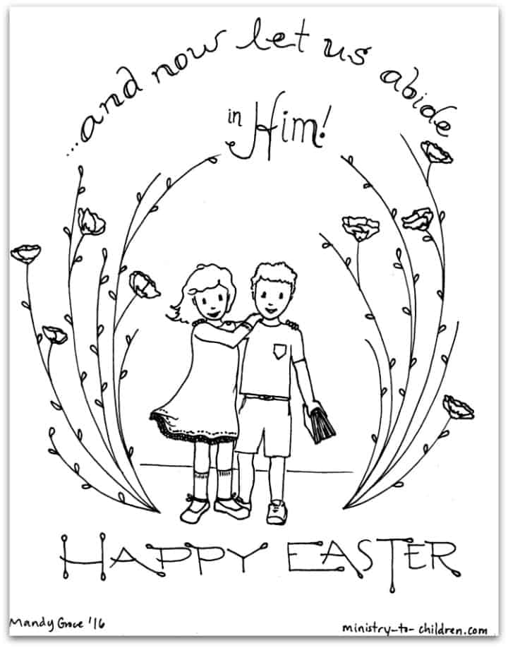 """Let Us Abide in Him"" Easter Coloring Page"