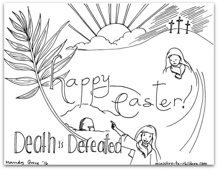 "Easter Coloring Page ""Death is Defeated"""