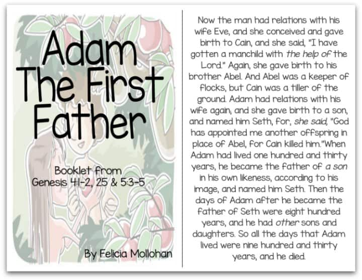 """Adam the First Father"" Bible Story Booklet"