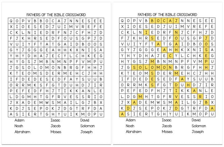 """Fathers in the Bible"" Word Search Crossword"