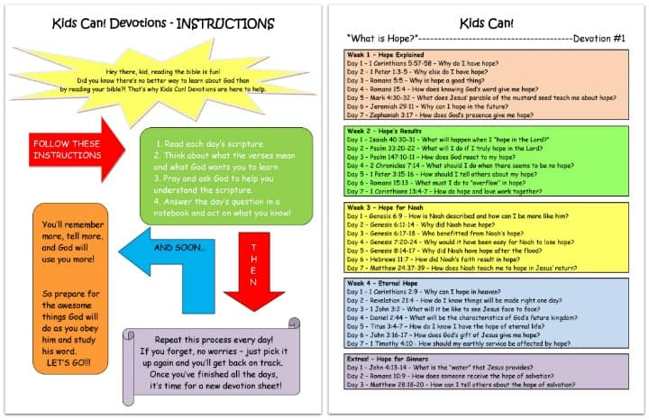 """Kids Can"" Devotional & Bible Reading Schedule"