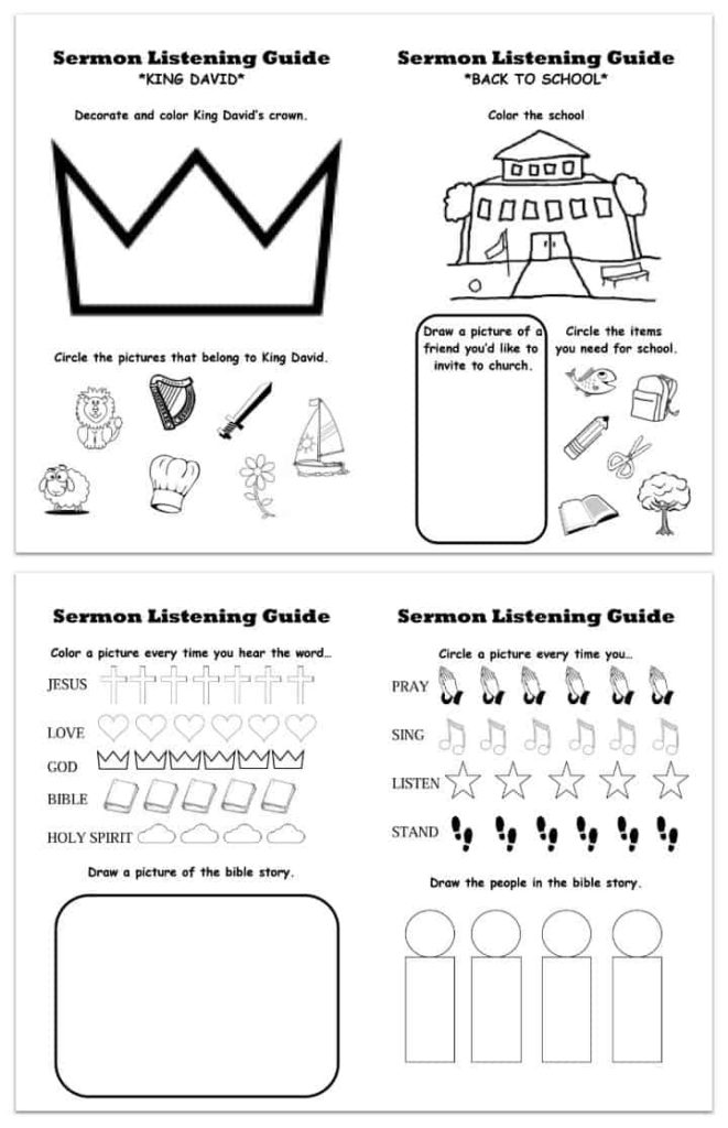 Free Sermon Listening Sheets for Kids